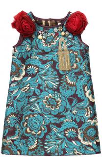 Мини-платье с цветочными аппликациями и декором Dolce & Gabbana