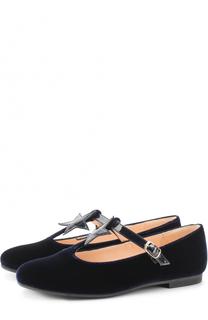 Текстильные туфли с аппликацией и кожаным ремешком Il Gufo