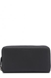 Кожаное портмоне на молнии с отделениями для кредитных карт и монет Ermenegildo Zegna