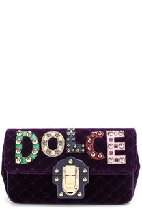 Сумка Lucia из бархата с аппликациями Dolce & Gabbana