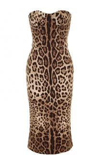 Шелковое платье-бюстье с леопардовым принтом Dolce & Gabbana