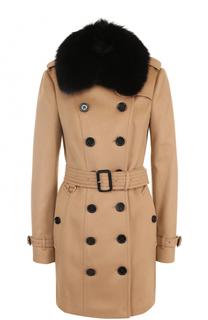 Двубортное пальто с поясом и меховой отделкой Burberry