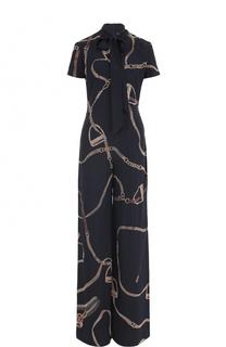 Шелковый комбинезон с воротником аскот Ralph Lauren