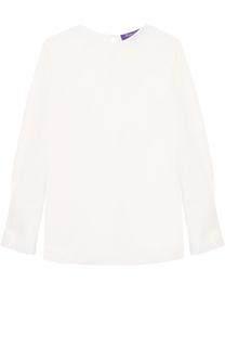 Шелковая блуза прямого кроя с круглым вырезом Ralph Lauren