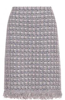 Буклированная юбка-миди с бахромой St. John