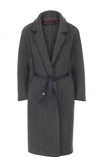 Кашемировое пальто с кожаной отделкой и кожаным поясом Loro Piana