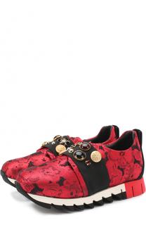 Текстильные кроссовки с эластичной вставкой и декором Dolce & Gabbana