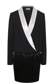 Приталенное мини-платье с контрастными лацканами Lanvin
