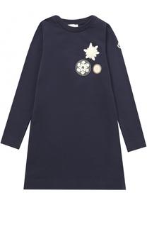 Хлопковое мини-платье с нашивками Moncler Enfant
