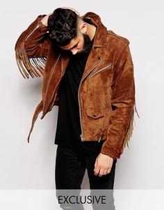 Коричневая замшевая байкерская куртка с бахромой Reclaimed Vintage Inspired - Коричневый