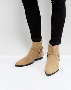 Замшевые ботинки челси с острым носом ASOS - Светло-серый
