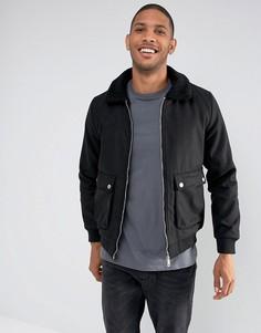 Шерстяная куртка Харрингтон с воротником борг Brave Soul - Черный