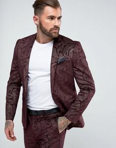 Бордовый приталенный пиджак-смокинг из бархата с узором пейсли ASOS - Красный