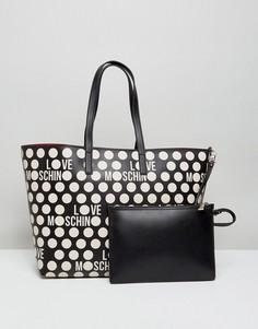 Сумка-тоут с принтом и логотипом Love Moschino - Черный