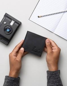 Кожаный складывающийся кошелек с логотипом Levis - Черный