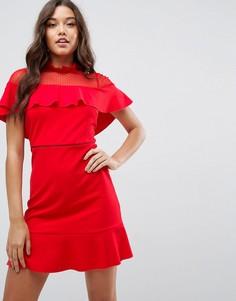 Короткое приталенное платье с сетчатой вставкой ASOS - Красный