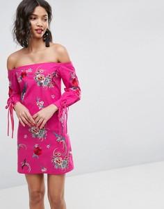 Платье мини с вышивкой и завязками на манжетах ASOS - Розовый