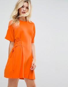 Платье-футболка мини с корсетом ASOS - Оранжевый