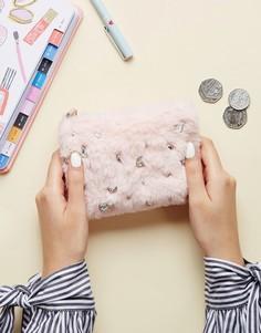 Кошелек с молнией и отделкой из искусственного меха New Look - Розовый