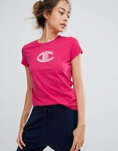 Футболка с круглым вырезом и логотипом Champion - Розовый