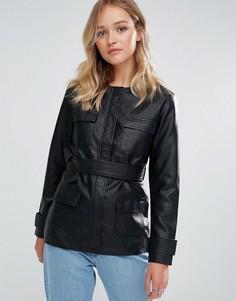 Куртка из искусственной кожи с завязкой на талии Neon Rose - Черный