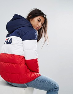 Длинная дутая куртка колор блок с логотипом на капюшоне и спине Fila - Мульти