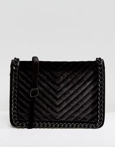 Бархатная сумка через плечо ALDO Duroante - Черный