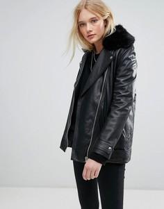 d18b9927457 Длинная кожаная куртка с ремнем и искусственным мехом Lab - Черный