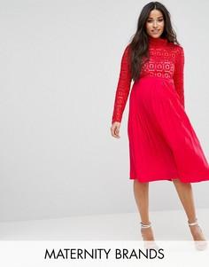 Кружевное платье миди с плиссировкой Little Mistress Maternity Premium - Красный