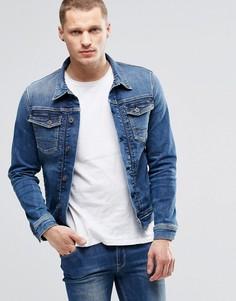 Стретчевая джинсовая куртка слим Pepe Rooster S62 - Синий