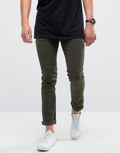 Зауженные джинсы хаки с легкой потертой отделкой Loyalty and Faith - Зеленый