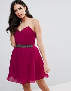 Платье мини с отделкой камнями на талии Little Mistress Cherry - Красный