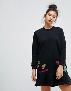 Платье-футболка с нашивками Ziztar - Черный