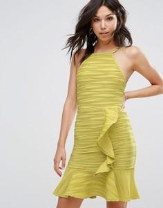 Платье мини с оборками Boohoo - Зеленый