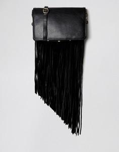 Кожаная сумка с бахромой Urbancode - Черный