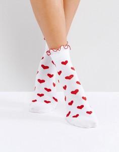 Носки с красным сердцем Lazy Oaf - Красный