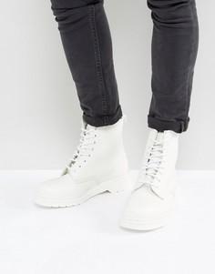 Черно-белые ботинки с 8 парами люверсов Dr Martens1460 - Белый