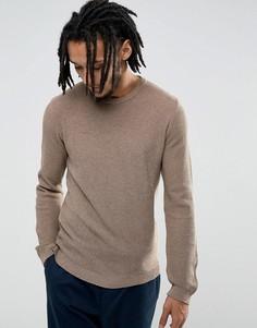 Легкий облегающий фактурный джемпер серо-коричневого цвета ASOS - Бежевый