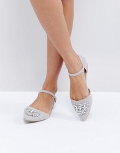 Туфли на плоской подошве с острым носком New Look - Серый