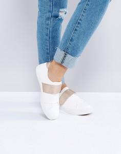 Кроссовки с ремешком цвета розового золота New Look - Белый