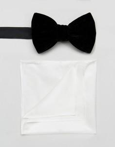 Бархатный галстук-бабочка и шелковый платок для нагрудного кармана ASOS - Черный
