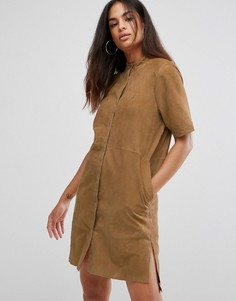 Замшевое платье-рубашка Selected - Коричневый