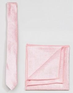 Розовые бархатные галстук и платок для нагрудного кармана ASOS - Розовый