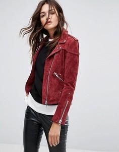 Замшевая байкерская куртка красного цвета Blank NYC - Красный