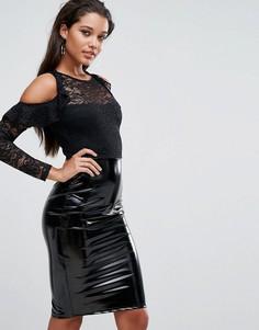 Платье миди 2 в 1 с кружевным топом и юбкой из ПВХ Lipsy - Черный
