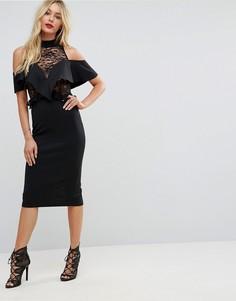 Облегающее платье миди с прозрачным кружевом и оборками ASOS - Черный