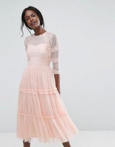 Ярусное полупрозрачное платье миди из тюля с рукавами 3/4 Lace & Beads - Зеленый