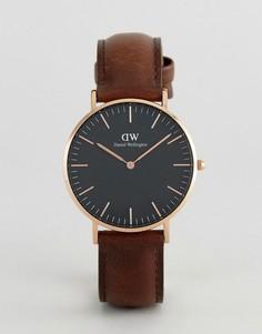 Классические часы 36 мм с коричневым кожаным ремешком Daniel Wellington DW00100137 Bristol - Коричневый