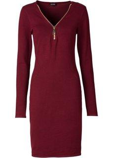 Вязаное платье на молнии (бордовый) Bonprix