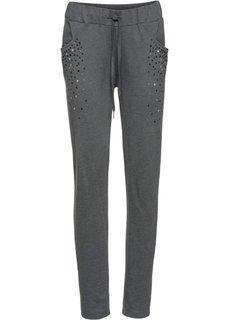 Трикотажные брюки с заклепками (антрацитовый «потертый») Bonprix